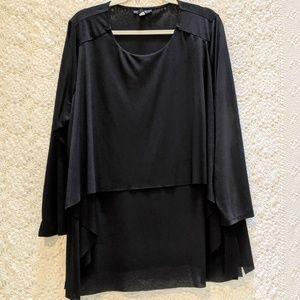 Alfani black tiered flowing long sleeve blouse. 3X